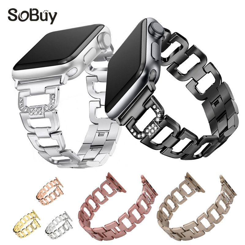 So buy for apple watch iwatch sport 1/2/3 band 42mm diamond alloy stainless steel watchband 38mm wirst strap metal Link bracelet crested sport stainless steel ceramics watch strap for apple watch band 42mm 38mm link bracelet metal strap for iwatch 3 2 1