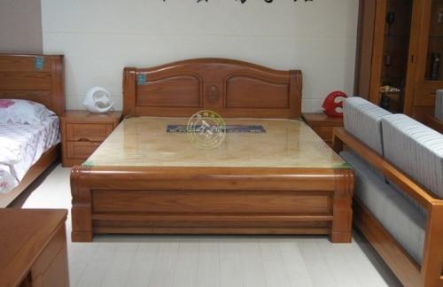 Roble chino chino de madera maciza cama doble secci n for Camas matrimoniales en madera