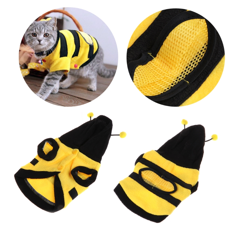 1Pc Pets Clothes Bee Costume Cute Warm With Soft Cloth Coat Hoodie For Puppy Dog Cat