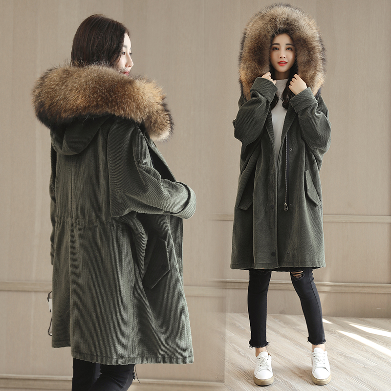 2017 Winter Jacket Women Cotton Coat Fur Collar Hood Parka Female Long Jackets Thick Warm Outerwear Winter Coat Women  LF19-1017 faux pearl beaded pendant sweater chain