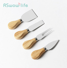 4pcs Stainless Steel Cheese Knife Cheese Wooden Handle Cream Pizza Knife Baking Tools Cheese Cutter Set camvate top cheese handle thread screwed handle