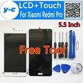 Para xiaomi redmi pro pantalla lcd + pantalla táctil + herramienta de alta calidad 100% nuevo panel de la pantalla digitalizador para xiaomi redmi pro 5.5 pulgadas