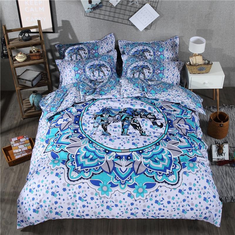 Éléphant literie ensembles Bohème Polyester coton 4 pcs Draps Twin Double Reine roi bleu housse de couette + drap plat + taie d'oreiller