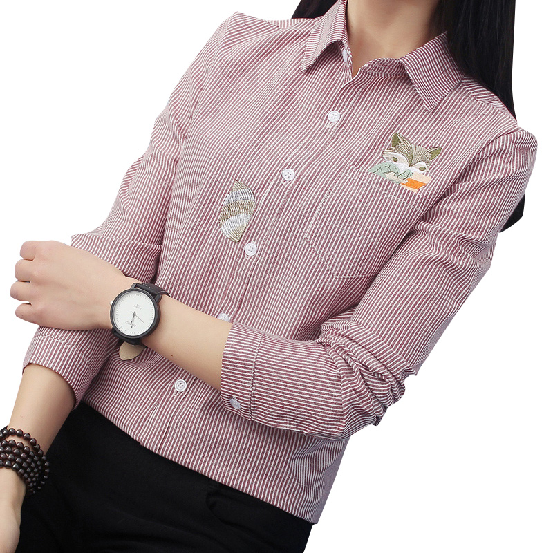 FEKEHA Fox Embroidery Long Sleeve Women Blouses And Shirts Red Grey Beige Female Ladies Casual Shirt Tops Stripe Blusas Blouse