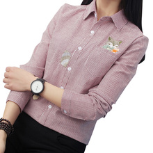 FEKEHA Fox Embroidery Long Sleeve Women Blouses And Shirts R