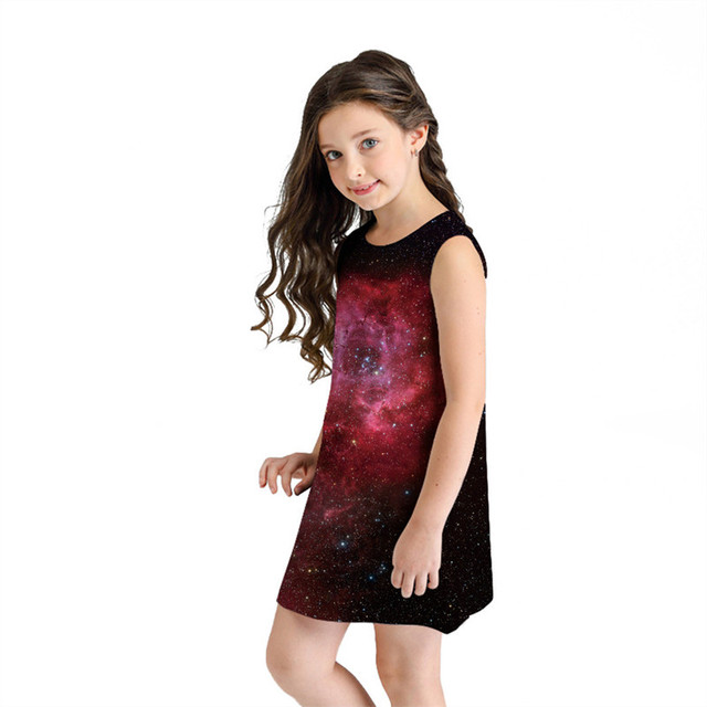 Летнее для девочек-подростков, платья без рукавов с 3D принтом, с героями мультфильмов повседневная одежда летнее платье для девочек roupa infantil menina # sg