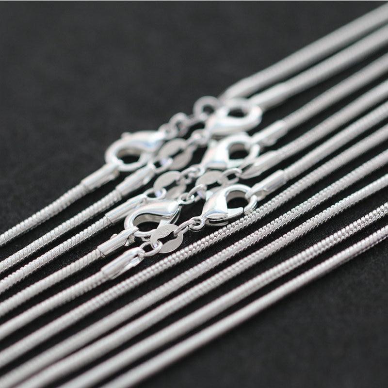 Оптовые партии, 10 шт., 925 пробы, серебряного цвета, 1 мм, Женское Ожерелье, ювелирных изделий, змеиная цепь для кулона, дешевые 16 -30