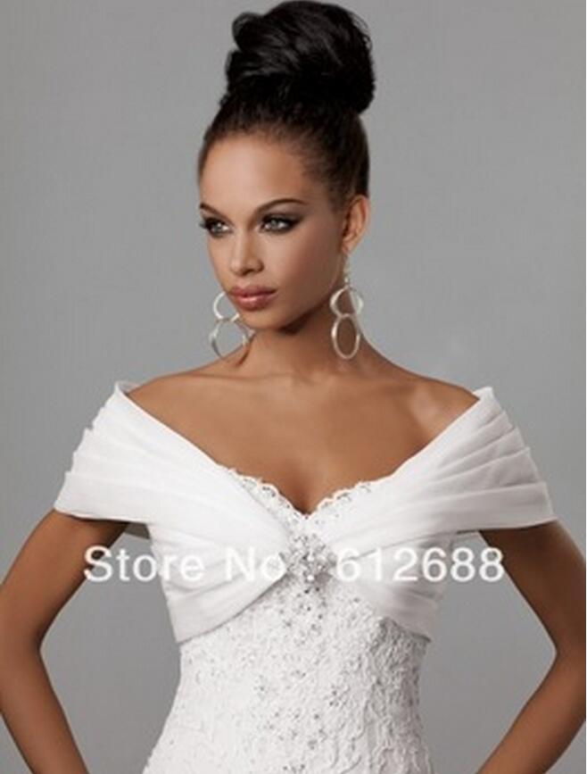 pas cher blanc organza pliss hors la paule de marie mariage bolero veste de marie courte accessoire - Bolero Fourrure Mariage Pas Cher