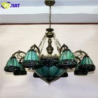 Фумат витражная люстра Европейский стиль зеленый стеклянный свет столовая лампа гостиная свет Pendientes Lustre люстры