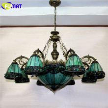 Yellow Green Tiffany Chandelier European Vintage Glass Suspension Light Dining Room Hanging Lamp Pendientes Lustre