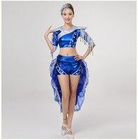 Acqua blu tamburo costumi femminili 2016 nuova donna Lucido Smoking fase strumento giocare danza moderna jazz abiti da ballo