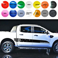 free shipping 2 PC racing Gradient shards side stripe graphic Vinyl sticker for Ford ranger 2012 2013 2014 2015 2016 sticker