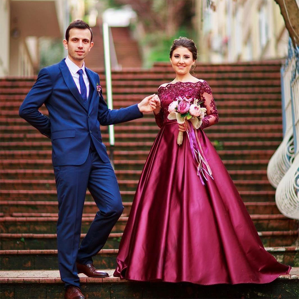 d019d2d714 Glamorous Burgundy Ball Gown Evening Dress Long Sleeve Boat Neck Red Evening  Dresses Elegant Women Evening Gowns For Party PE76