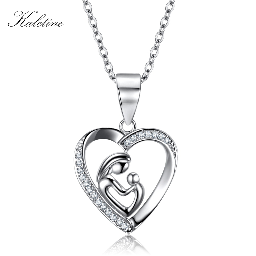 Genuine 925 Sterling Silver CZ Gift for Mother Love Mum with Baby Love Pendant Necklace