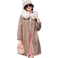 Mouton Coat wool coats for woman jacket Fox collar fur coat Women's winter jackets 2018 fur coats