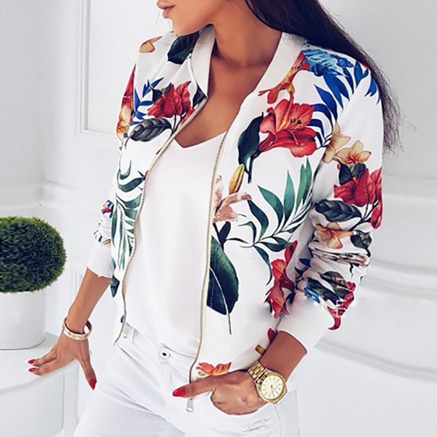 Outerwear & Coats Jackets Ladies Printing Long Sleeve Tops Zipper Jacket Outwear Loose Coats And Jackets Women 2018JUL26