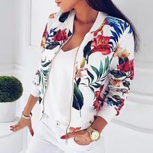 Outerwear & Coats Jackets Ladies Printing Long Sleeve Tops Zipper Jacke