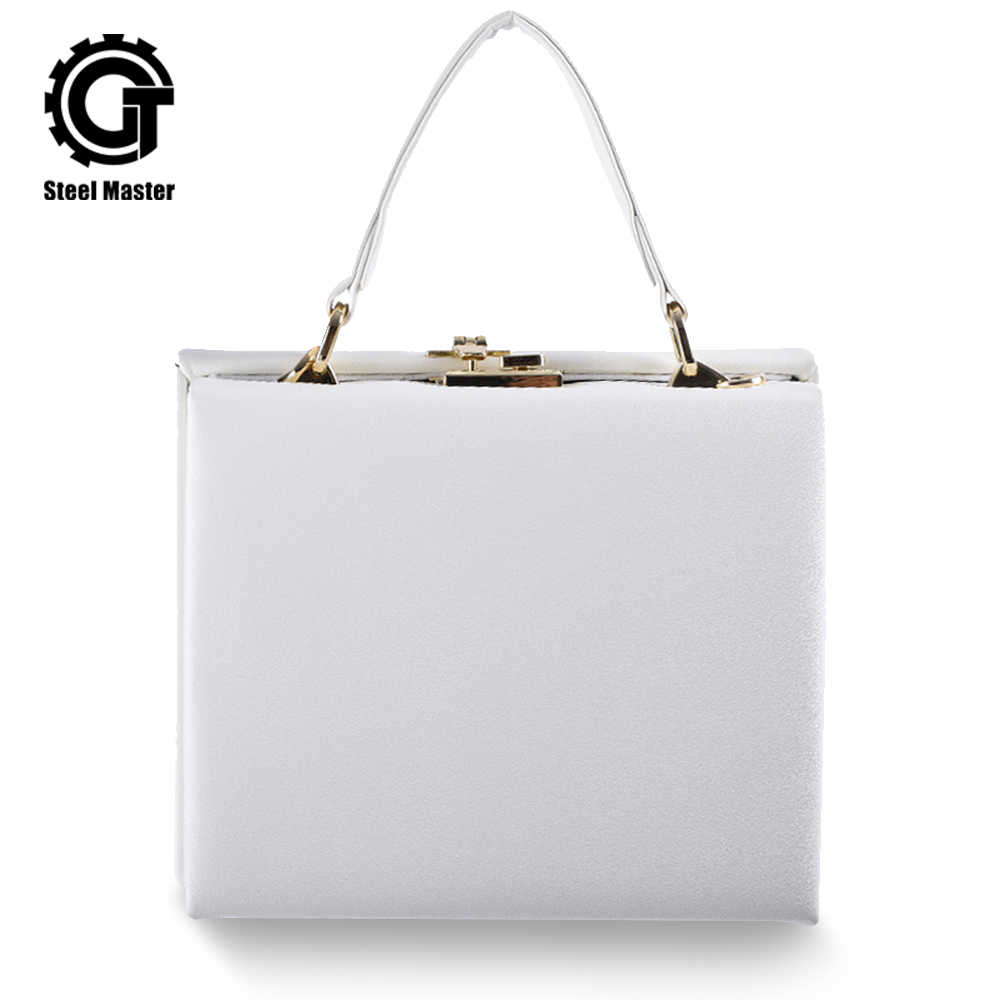 New Arrival Women's Handbag Square Box White Leather Bag Metal Push Button Totes
