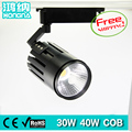 Free Shipping AC110V/220V 30W LED Track Lights 100-110lm/W COB Track Lighting Black/White Housing Color