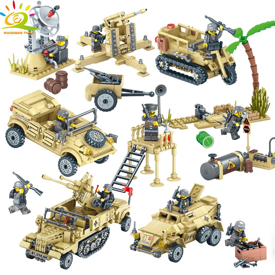 HUIQIBAO TOYS Army WW2 Vehicle Motorcycle Soldier Weapons Building Blocks For Children Compatible Legoed Military Trucks Bricks цена
