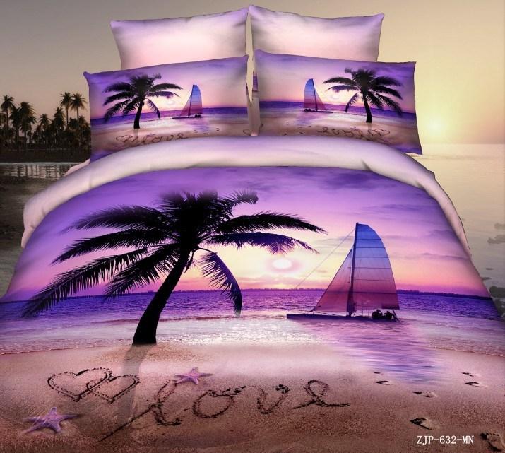 Purple Sky Oil Painting 3d Bedding Set Queen Size 4pcs