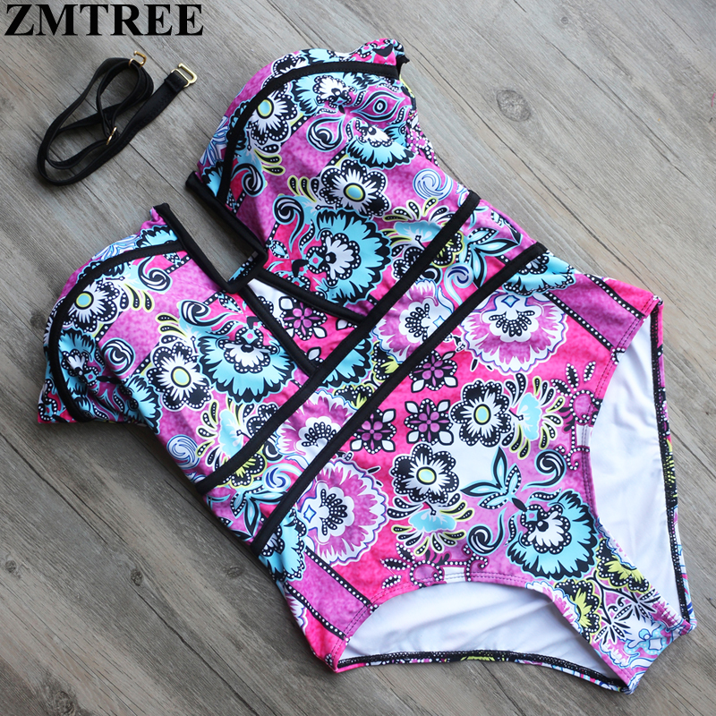 ZMTREE 2017 Brand Sexy One Piece Bathing Suits Women Bandeau Swimwear Brazilian Swimsuit Printed Plus Size Bodysuit Monikinis