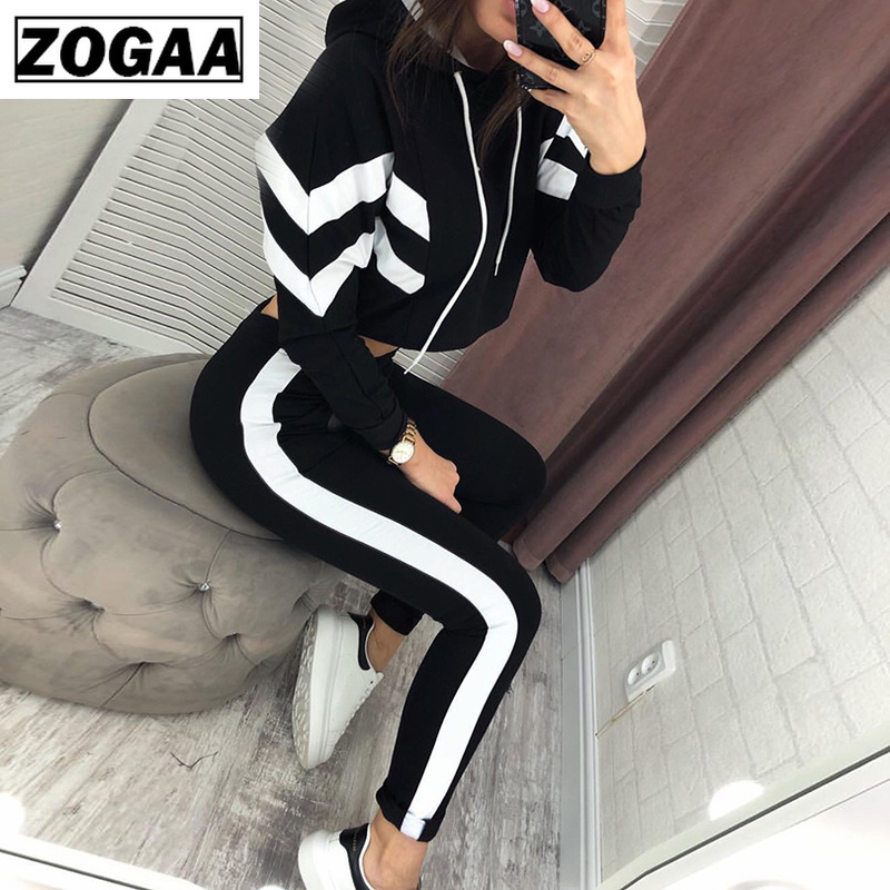 ZOGAA 2019 Ladies Casual Suit Striped Color Matching Sweater + Trousers Sets Women Tracksuit Women 2 Piece Sets Womens Outfits