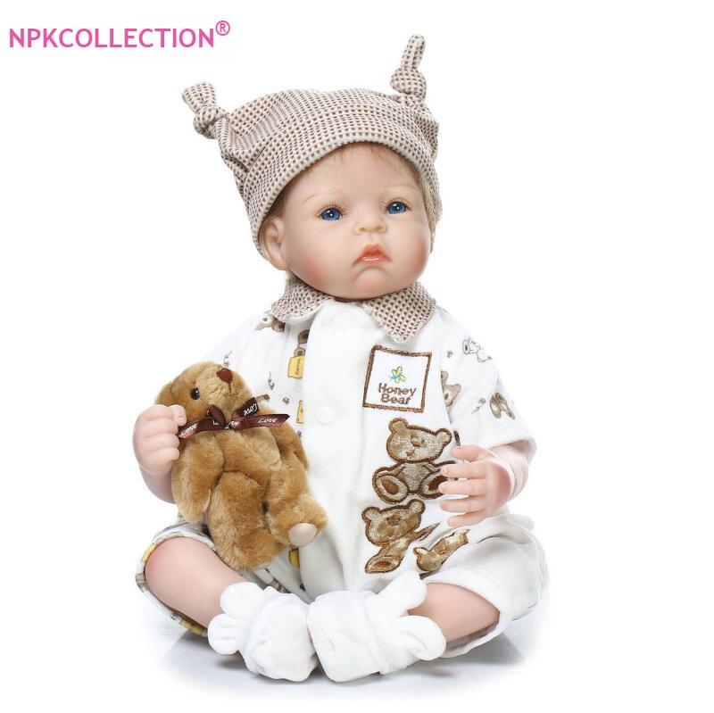 52cm Doll Silicone Reborn Handmade Realistic Baby Dolls in Blue Princess Dress 21 Inch Vinyl Bebe Reborn Babies Girls Toys недорого