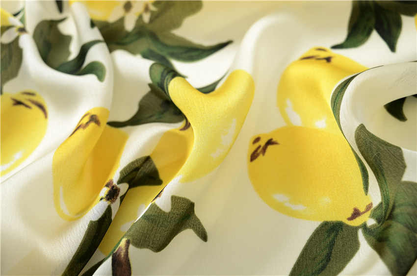 [Slkscf] 180X90 см желтый лимон печать 100% шелковая шаль полиэстеровый шарф шарфы из искусственного шелка солнцезащитный шарф накидки женский