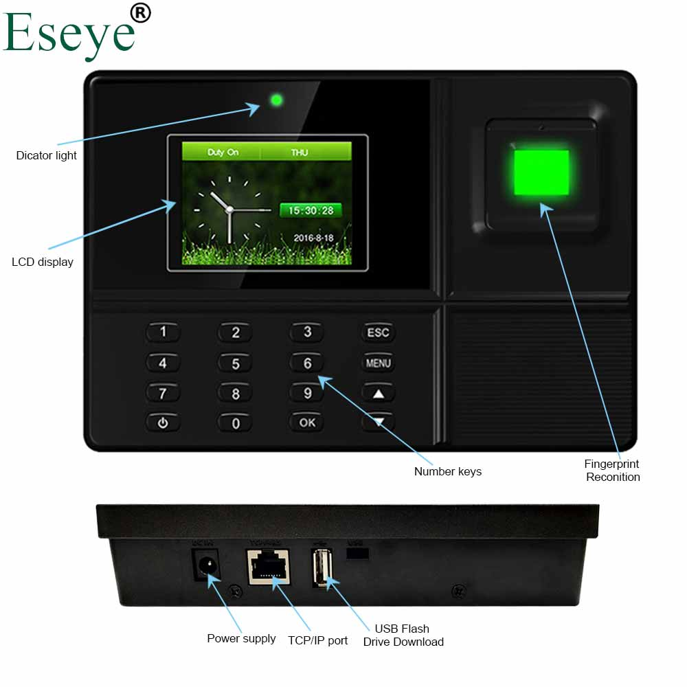 Eseye Biometric Fingerprint Time Attendance System Fingerprint Time Clock Recorder Employee Recognition English Spanish Machine