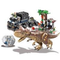 Jurassic World Park Carnotaurus Gyrosphere Escape Building Blocks Kit Bricks Classic Movie Model Toys Gift Compatible Legoing