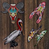 1 компл. животных Коза Овцы кудрявый птица патч Омар вышивка цветок любовь рыбы аппликация патчи утюг на Футболка Одежда Craft