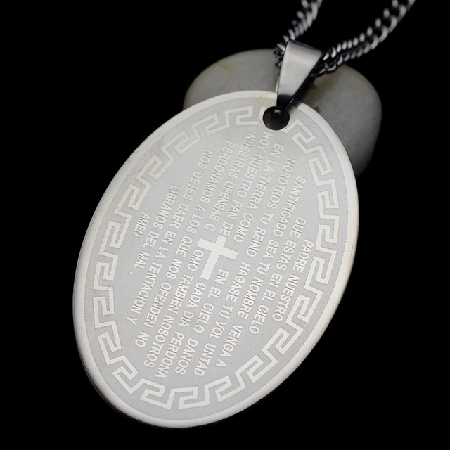 cac3b16c88372 US $2.69 |Stainless Steel Spanish Lord's Prayer Dog Tag Oval Pendant  Necklace SS Curb Chain 60CM-in Pendant Necklaces from Jewelry & Accessories  on ...