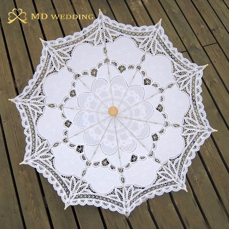 New Lace Umbrella Cotton Embroidery White/Ivory Battenburg Lace Parasol Umbrella Wedding Umbrella Decorations Free Shipping 12