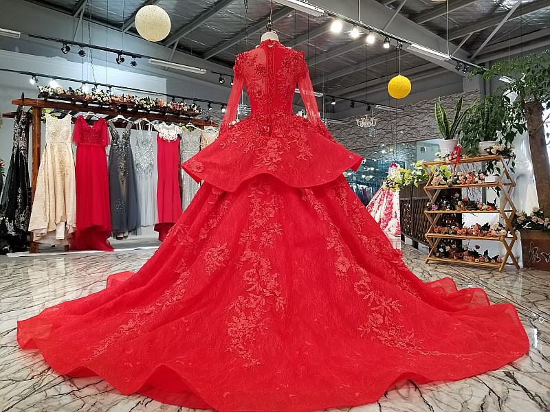 Image 2 - LS0993 red high neck brides wedding party dresses long tulle sleeve lace up back beauty cheap evening dress real price as photosEvening Dresses   -