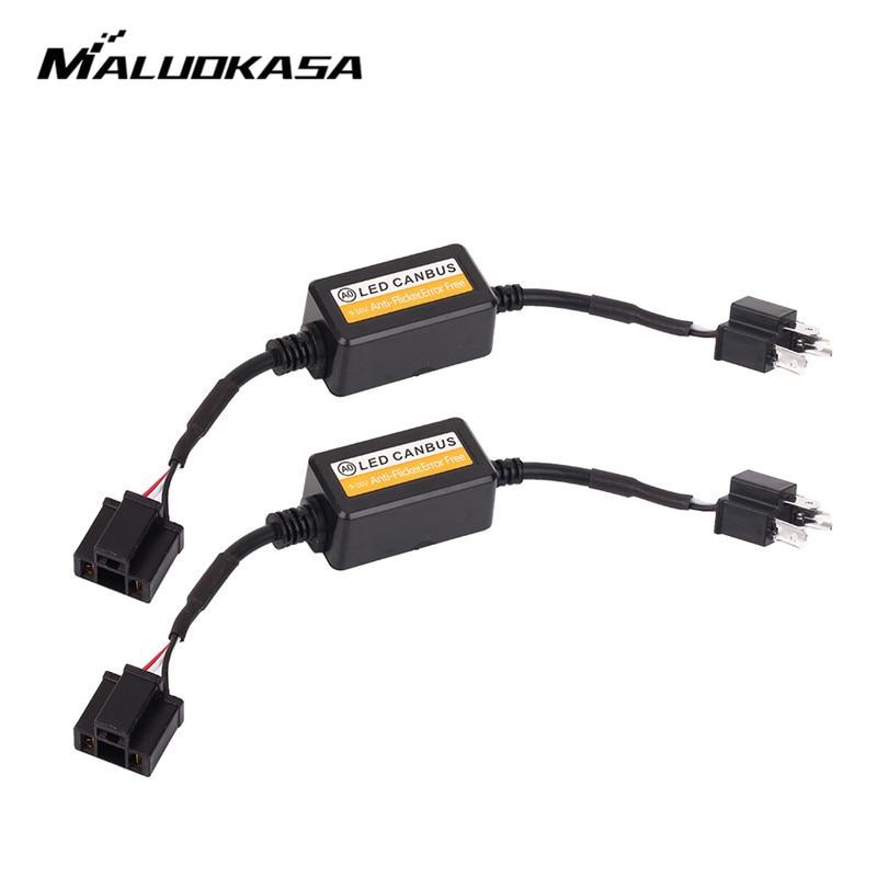 MALUOKASA 2PCS H1 H4 H7 LED Headlight Canbus Wiring Kit 9005 9006 H8 H9 H11 Computer Warning Error EMC Resistor Canceler Decoder