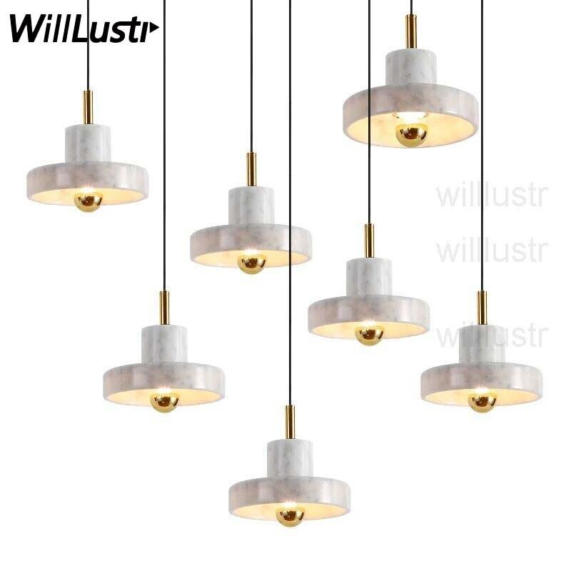 Lampe à suspension en marbre naturel nordique Europe du nord design minimaliste moderne maison salle à manger lampe de chevet suspension de luxe