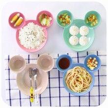 Бытовой кухонный инструмент посуда мультфильм Микки дети соломенная посуда креативные Детские перегородки тарелки Веселые фрукты закуски рисовая чаша