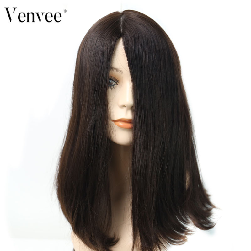 Jewish Wigs Straight Human Hair Wigs Silk Base Double Drawn European Remy Hair 4# Color Kosher Wig Venvee Hair
