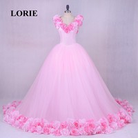 LORIE Pink Cloud Flower Rose Wedding Dresses 2018 Long Tulle Puffy Ruffle Robe De Mariage Bridal