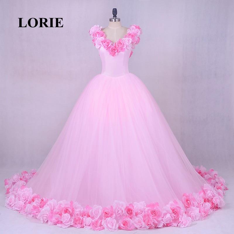 Lorie pink cloud flower rose wedding dresses 2018 long for Rose pink wedding dress