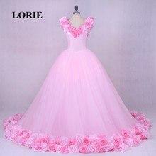 LORIE Pink Cloud Flower Wedding Dresses 2019 Bridal Gown