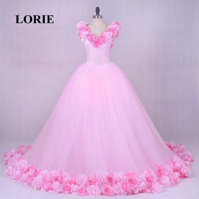 d5e46436515 LORIE Rose nuage fleur Rose robes De mariée 2019 Long Tulle gonflé à volants  Robe De