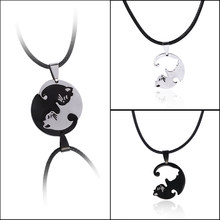 2pcs/set cute Couples Jewelry animal Necklaces Black white Couple Necklace cat Pendants Necklace(China)