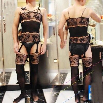 Herren Catsuit Mesh Mehrfarben Männlichen Transparent Offenem Schritt Overalls Socken Einteilige Sexy Strumpfhosen Für Männer