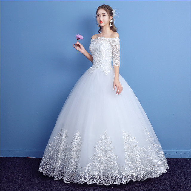 Korean Lace Half Sleeve Boat Neck Wedding Dresses New Fashion Elegant Princess Appliques Gown Customized Bridal Dress QD