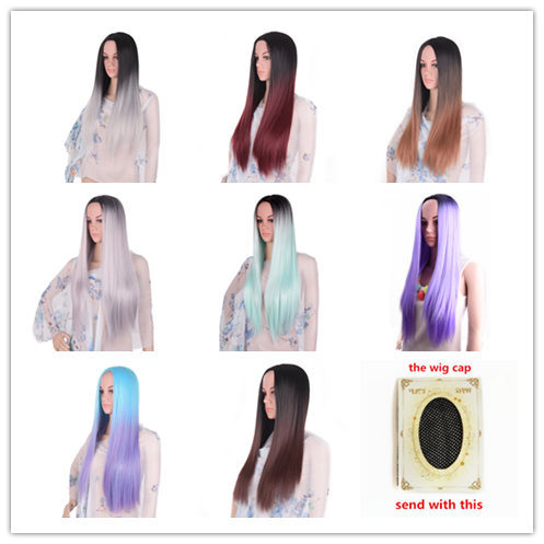 Feilimei Ombre Cosplay Wigs Synthetic Long Straight Hair Pink Blue Purple Grey Blonde Black Colored 24 Inch 280g Full Head Wig