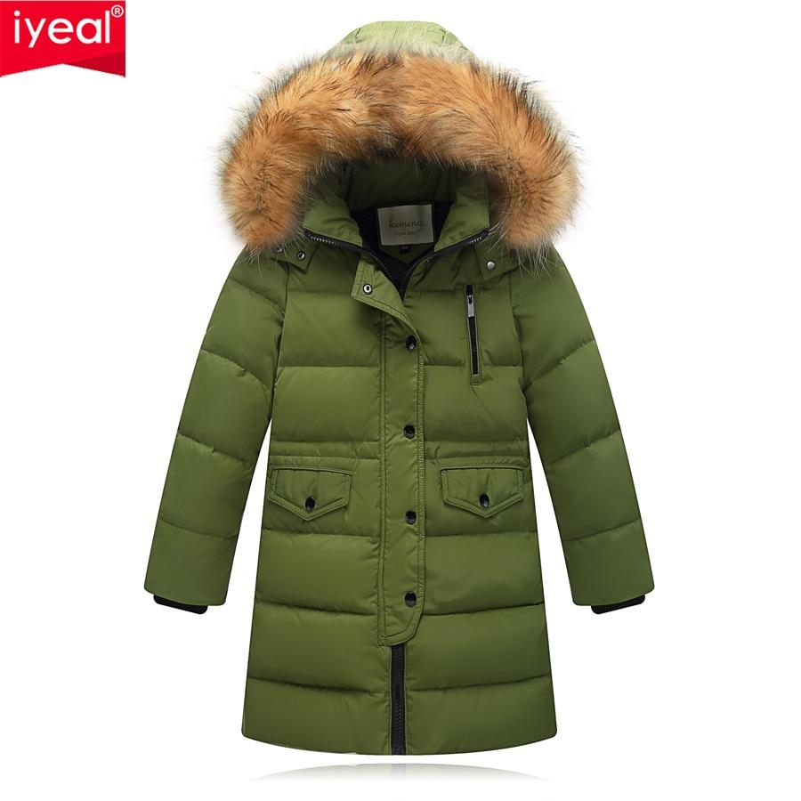 IYEAL 2017 Winter Long Model Boys Girls Jacket Coat Warm Fashion Children Parkas High-quality White Duck Down Kids Outwear 3-12Y