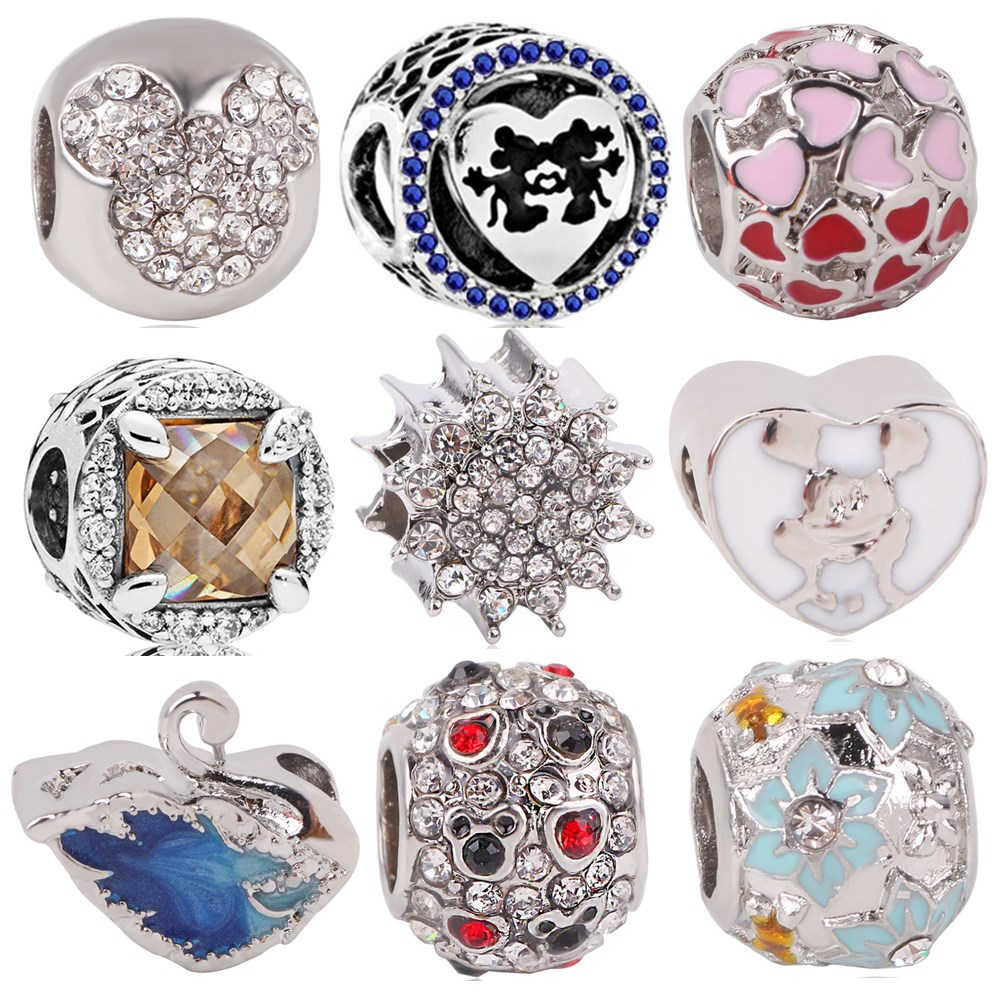 Fits Pandora Charms Silver 925 Original Bracelet For Women New 1pc Free shipping Love Mickey Swan Flower Spacer Clip DIY Bead