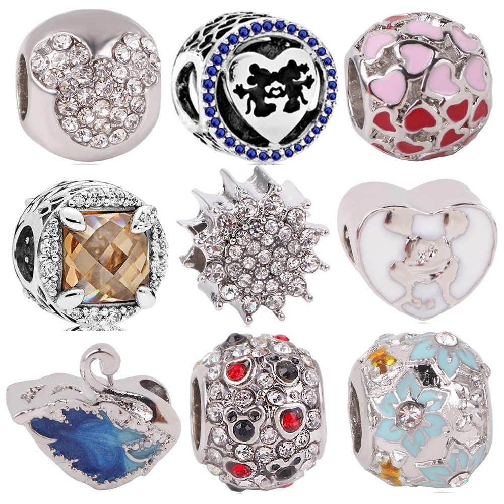 Pasuje do Pandora Charms srebro 925 oryginalna bransoletka dla kobiet nowy 1pc darmowa wysyłka miłość Mickey Swan kwiat Spacer klip DIY koralik